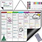 Nabance Pizarra Magnética Nevera, Semanal Calendario Magnético para pared, Planificador semanal de comidas planificador listas de compras, con 8 pluma de pizarra diferentes colores, borradores