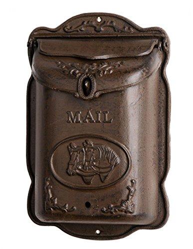 aubaho Briefkasten Wandbriefkasten Gusseisen antik Stil Landhausstil Pferd Shabby braun