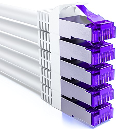 deleyCON 5X 2m RJ45 Patchkabel Set Ethernetkabel Netzwerkkabel mit CAT7 Rohkabel S-FTP PiMF Schirmung Gigabit LAN Kabel SFTP Kupfer DSL Switch Router Patchpanel - Weiß