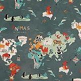 BAUMWOLLSTOFF 2126 Weltkarte der Tiere | Baumwolle