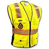 Chaleco de seguridad amarillo y naranja, clase 2, alta visibilidad, resistentes, con cremallera, bolsillos y tiras reflectantes, para hombre y mujer, para motoristas, policías, ciclistas y trabajadores de la construcción, amarillo