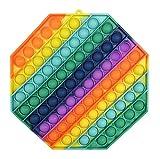 CRAZYCHIC - Pop It Gigante XXL Fidget Toys - Popit Grande Push Bubble Juguetes Niños Barato - Juegos Antiestres Enorme Hijos Adultos - Burbujas Multicolor Arco Iris Regalo Niño Niña Octágono Polígono