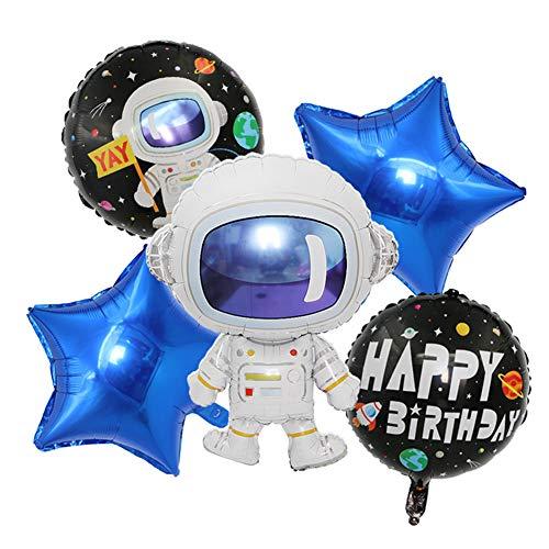 ED-Lumos 5 stks ruimte astronaut herbruikbare helium Ballonnen met blauwe sterren voor verjaardagscadeau decoratie kids gift