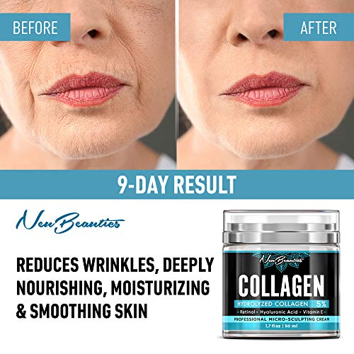 51cPSxAP7ML - Collagen Cream - Organic Day and Night Cream - Made in USA - Anti Aging & Wrinkle Face Firming Cream - Face Moisturizer for Women & Men - Gentle Collagen Cream with Hyaluronic Acid & Retinol