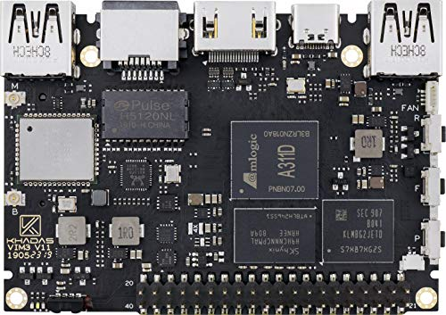 khadas Amlogic A311D VIM3 Basic Single Board Computer with LPDDR4 2 RAM+16GB EMMC AP6356S Wi-Fi, 2X2 MIMO with RSDB