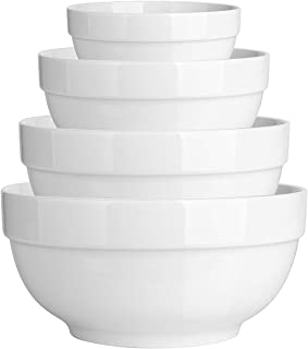 DOWAN 4 Pieces Porcelain Serving Bowl Set, Non Slip Nesting Bowls