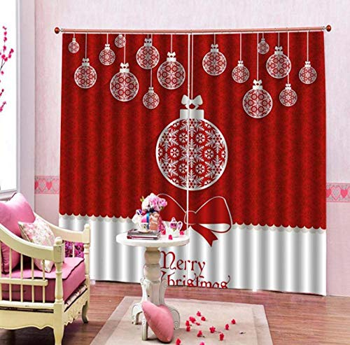 Cortinas de impresión de alto sombreado Decoración de bola roja de Navidad Cortinas de impresión digital 3D...
