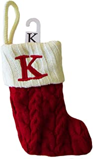 St. Nicholas Square Red and White Mini 8-inches Cable Knit Monogram Stocking - Letter K