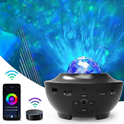 Wifi Smart Star Sky Projector, Amouhom Child Night Light Lámpara de proyector de video en la nube giratoria, con control remoto, con Alexa y Google Home para Navidad, Pascua o Halloween