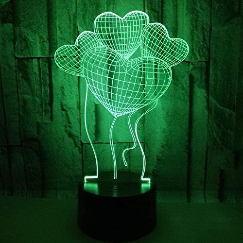 Lámpara de ilusión óptica 3D Love Balloon LED Night Light Toy 16 Lámpara de mesa USB que cambia de color con control remoto o táctil El mejor regalo de cumpleaños de Navidad para niños