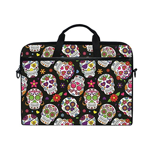 Laptop Case, Sugar Skull Printed with 3 Compartment Shoulder Strap Handle Canvas Notebook Computer Bag Personalised Perfect for Boys Girls Women Men 13 13.3 14 15 inch