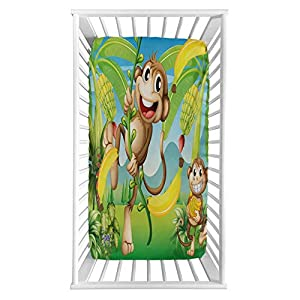 """Lyzelre Nursery Fitted Crib Sheet,Two Monkeys Near The Banana Plant Tropical Nature Landscape Vine Funny Animals Apes Microfiber Silky Soft Toddler Mattress Sheet Fitted,28″x 52″x 8"""", for Boys Girls"""