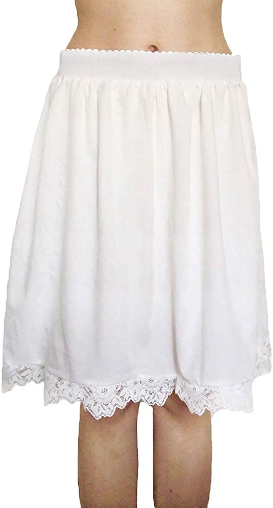 sunnymore Women Long Half Slips Solid Lace Trim Maxi Underskirt Half Slip