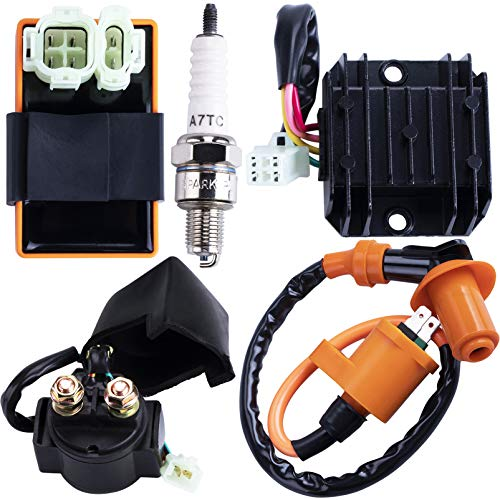 CNCMOTOK High Performance Racing GY6 Ignition Coil Voltage Regulator Rectifier Solenoid Relay 6 Pin AC CDI Spark Plug Kit for 50cc 125cc 150cc ATV Quad Go Kart Moped Scooter