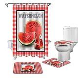 AETTP 4 Stücke Weihnachten Plaid Wassermelone Duschvorhang Set Mit Teppich Badematte Teppich Badezimmer Gardinen Wc Deckel Abdeckung Dekoration 180x180cm