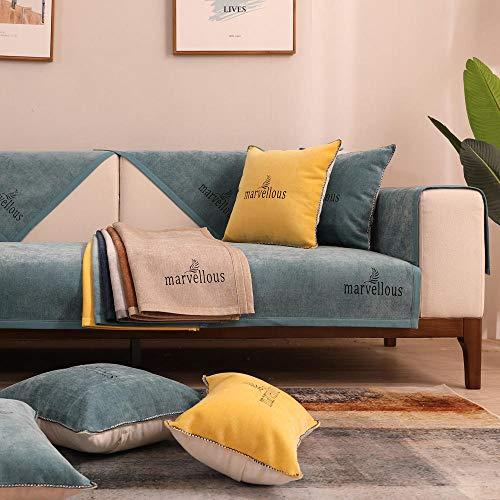 fundas sofa mascotas,Funda de sofá de tela fina,fundas antideslizantes de 4 estaciones para sofá de cuero,protector de sofá de chenilla,cojín de sofá toalla-azul_45 * 45cm_Funda de almohada_con_cor