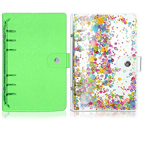 2 Pieces A6 Soft PVC 6-Ring Binder Cover, Notebook Binder Cover with Shiny Sequins and Snap Button Closure Loose Leaf Folder Notebook Round Ring Clear Binder Cover Protector (Green)