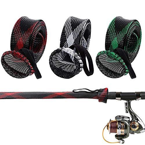 Cubierta de Caña de Pescar, 3 Piezas Funda para Caña de Pescar Trenzada, Funda Protectora para Caña de Pescar Con Cordón, Ajustable para Evitar que la Caña de Pescar se Raye (3 Colores)