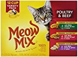 Meow Mix Tender Favorites Poultry & Beef Variety Pack, 2.75-Ounce Cups, 12-Count