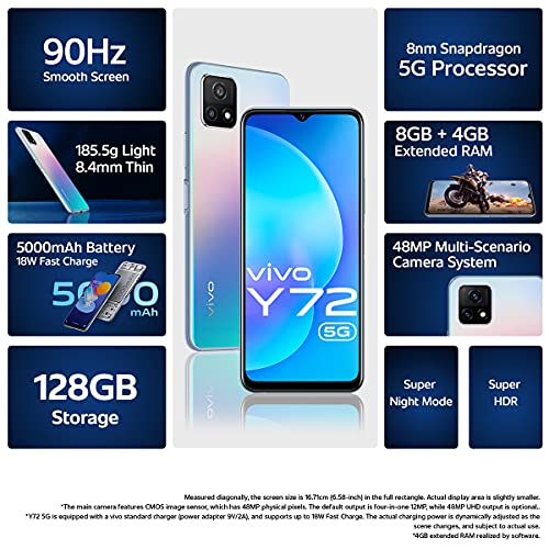 Vivo Y72 5G (Prism Magic, 8GB RAM, 128GB Storage) with No Cost EMI/Additional Exchange Offers 3