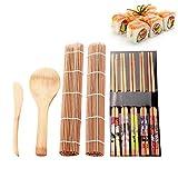 Set de utensilios para sushi de bambú, juego de alfombrillas, con escobilla de cortina de sushi, cuchara, palillos