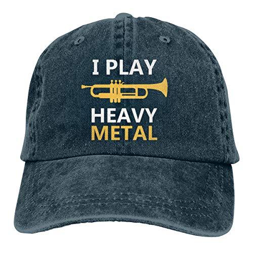 Cl4zyott I Play Heavy Metal Unisex Klassische Baseballkappe verstellbar Vintage Trucker Cap Sonnenhut Schwarz Gr. Einheitsgröße, navy