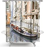 chuanglanja Duschvorhang Wasserdicht Anti-Schimmel Ölgemälde Boot wasserdicht Mehltau Polyester Duschvorhang Trennvorhang 180 * 180cm