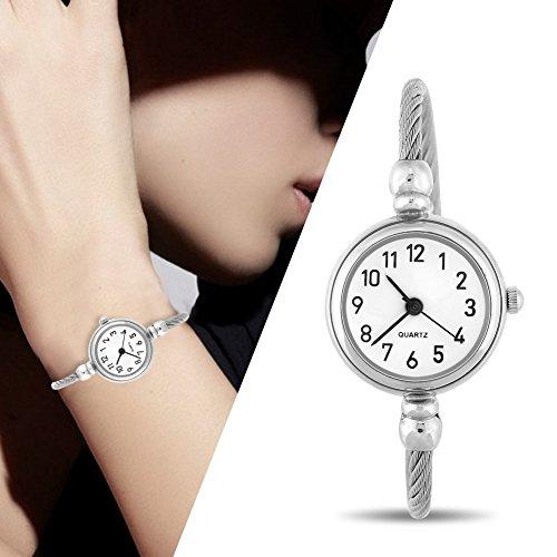 Relojes de cuarzo de las mujeres, de los muchachosRelojes analógicos de la correa de aleación redonda abierta reloj de pulsera [#04]