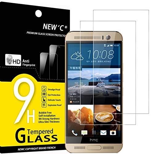 NEW'C 2 Stück, Schutzfolie Panzerglas für HTC One M9 Plus, Frei von Kratzern, 9H Festigkeit, HD Bildschirmschutzfolie, 0.33mm Ultra-klar, Ultrawiderstandsfähig