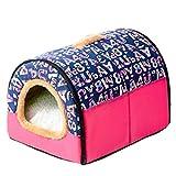 Cesta para Mascotas de Felpa 4 Colores Diferentes y 3 tamaños - Lavable y Resistente a los arañazos casa para los Perros y Gatos (Style 4, S)