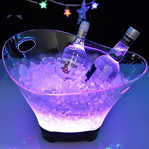 WLKQ Secchiello per Ghiaccio a LED - Portaghiaccio - 12 l, Lampada con gradienti Colorati, raffredda Bottiglie, Secchiello per Spumante, refrigeratore per Bevande, per Ristorante, Pub, Feste