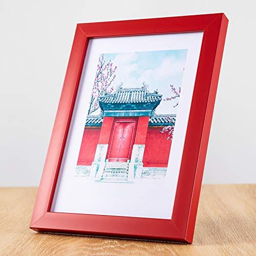 Marco de fotos de colores dulces de tira plana para niños pintura de arte DIY, regalo de decoración de escritorio para el hogar 5 pulgadas-8.8x12.8cm rojo-1