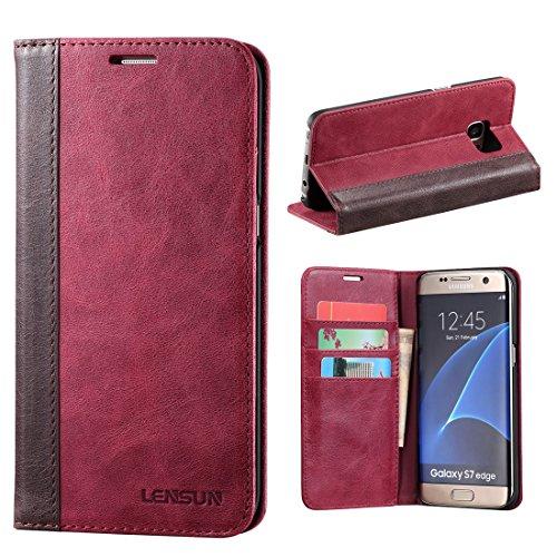 LENSUN Hülle für Samsung Galaxy S7 Edge, Echtes Leder Handyhülle Handy Tasche Kartenfach Flip Hülle Ledertasche Schutzhülle kompatibel mit Samsung Galaxy S7 Edge – Wein Rot (S7E-FG-WR)
