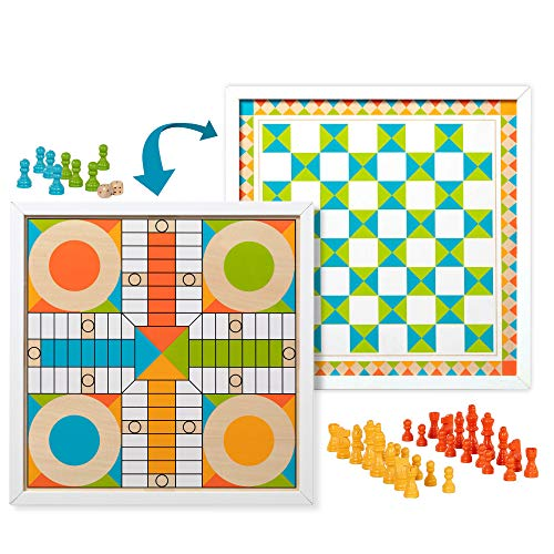 Melissa & Doug Double-Sided Wooden Chess & Pachisi Board Game with 42 Game Pieces (17.5†W x 17.5†L x 1.5†D)