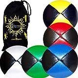 5X Pro Pelotas de Malabares / Bolas de Malabarismo (Cuero) Profesionales Bolsa de Frijoles Pelotas, Conjunto de 5 + Bolsa de Viaje!