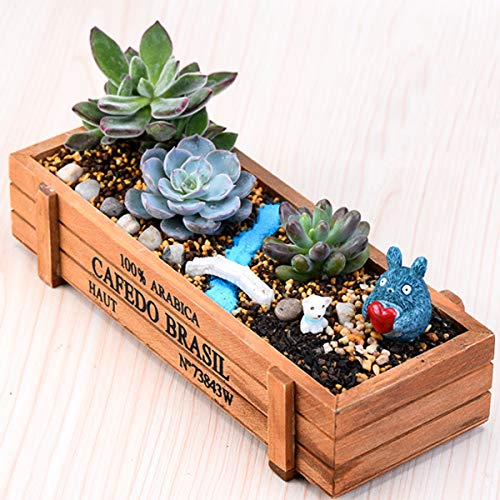 SOONHUA Caja de Almacenamiento de Maceta Maceta Suculenta de Madera Maceta Jardín de su Casa Contenedor Decorativo de Flores Interior/Exterior para Frutas Hierbas Regalo Canastas