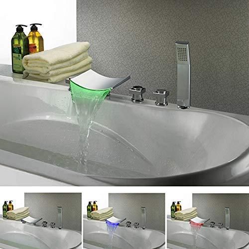BFDMY Wasserfall Badewanne Wasserhahn LED RGB 3 Farbewechsel Handbrause Badewannenarmatur 5-Loch Wannenrandarmatur Verchromt Messing Wannen Armatur,Silverfaucet