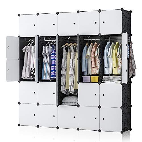YOZO Portable Closet Wardrobe Modular Cube Storage Organizer Plastic Dresser Multi-use Clothes Bedroom Armoire 25 Cubes Depth 18 inches Black