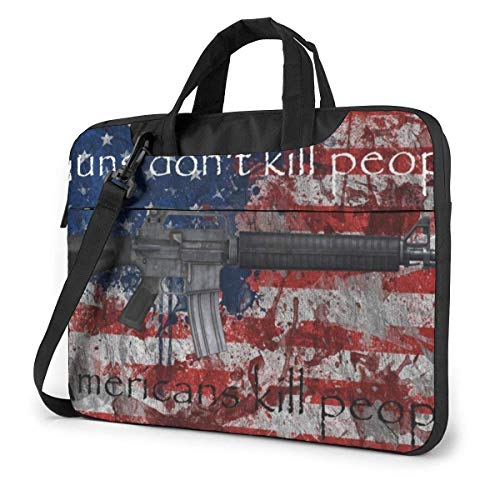 15.6″Lightweight Laptop Notebook Shoulder Backpack Bag US USA Flag (19) Waterproof PC Briefcase Messenger with Strap