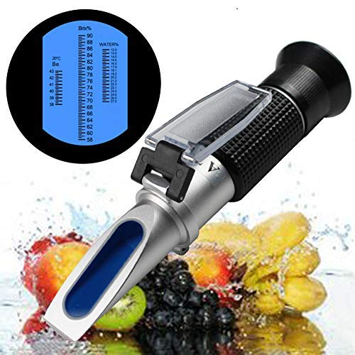 Honey Refractometer for Honey Moisture, Brix and Baume, 58-90% Brix Scale Range Honey Moisture Tester, 3-in-1 Uses,with ATC, Ideal for Honey, Maple Syrup, and Molasses (Honey Refractometer)