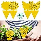 Mengxin 48 Piezas Trampas Adhesivas para Insectos Enchufables Atrapa Moscas Adhesivo Anti Moscas Plantas Amarillo de Doble Cara para Proteger Plantas