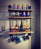 Industrial Pipe Shelf Wine Rack Wall Mounted...