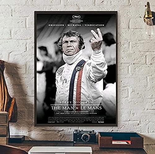 Pintura de arte en lienzo 30x50cm sin marco Steve McQueen The Man and Lemans Movie Cover Retro Poster Artwork