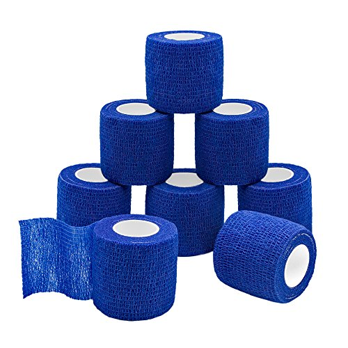 QiGui 8 Rollen Selbsthaftende Cohesive Bandage Haftbandage Verband Fixierverband elastische Binde Pflasterverband Für Finger, Hand, Zehen Und Füße 5cm X 4.5m (Blau)