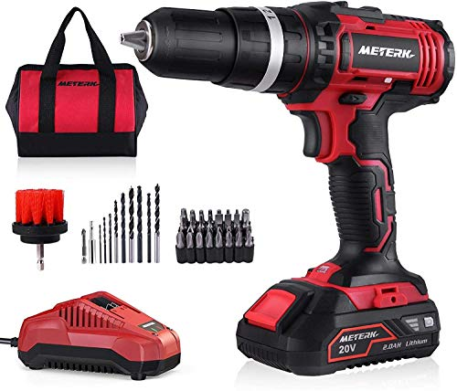 Cordless Drill Driver,Meterk 20V Electric Drill Driver with 44Pcs Accessories, Drills and Driver Sets Cordless with Various Speed, 2.4V Fast Charger, Battery, Carrying Bag Included