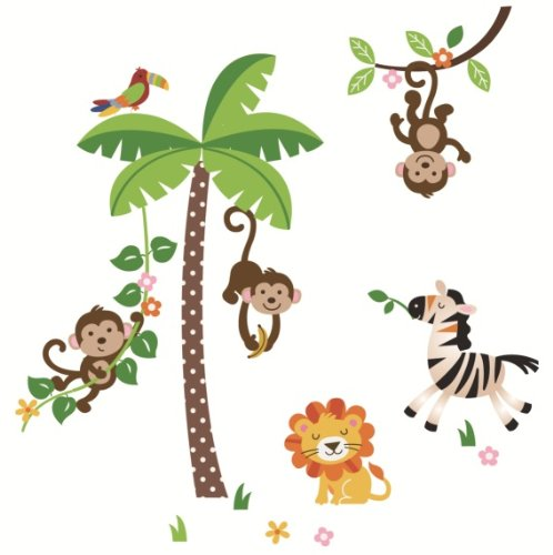 Wall Mural  Jungle Animals Tropical Trees Palms Photo Wallpaper Children Bedroom
