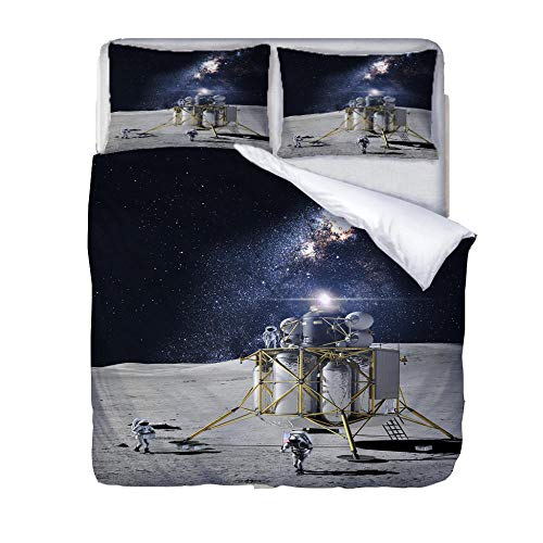 LiYiAT Single Duvet Cover Set 3D Printed Easy Care Bedding Quilt Cover Universe And Astronaut Microfibre Three Piece 2 Pillowcases with Zipper Closure for Kids Boys Girls Single Bed(135X200cm)