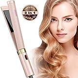 Haarglätter- NBPOWER Glätteisen und Lockenstab 2 in 1, Keramik Haarpflege Glätten & Locken mit LCD-Display/Einstellbare Temperatur/Ausschaltautomatik, für alle Haartypen