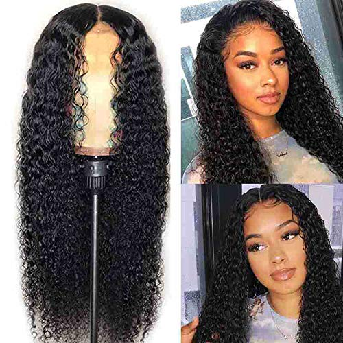 Preisvergleich Produktbild SAHAPA Human Hair Wig for Black Women Perücke Echthaar Lockig, Echthaar-Perücke,  gewellt,  brasilianisches Echthaar,  Lace-Front-Perücke,  mit Babyhaar für Schwarze Frauen,  for Black Women