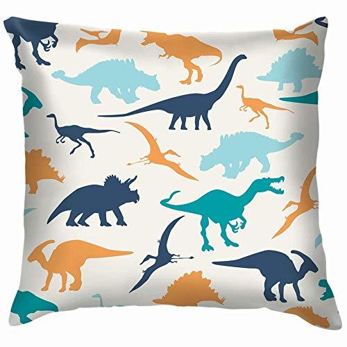 Decoración de dormitorio, funda de cojín, funda de cojín, diseño de dinosaurios de dinosaurios de 45 x 45 cm, funda de cojín cuadrada para sofá, dormitorio, coche, funda de almohada con cremallera
